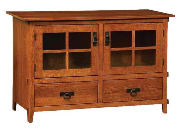 Amish Deluxe Mission Two-Door TV Stand with Two Drawers