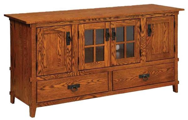 Amish Mission Four-Door TV Stand with Two Drawers