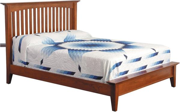 Amish Caldwell Mission Slat Bed with Low Footboard