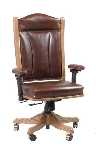 Amish Upholstered Traditional Desk Chair with Adjustable Arms