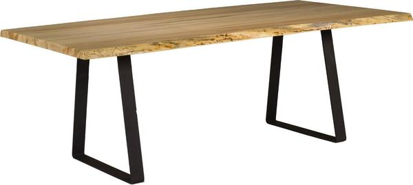 Live Edge Dining Table with Stirrup Base