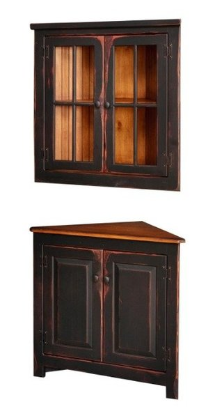Honey Brook Corner Hutch with Optional Hanging Top