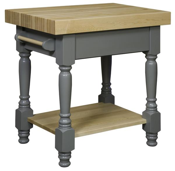 Amish Space Saving Turned Leg Standing Butcher Block Kitchen Island with Painted Base