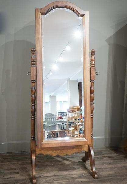 In Stock Maple Wood Standing Mirror