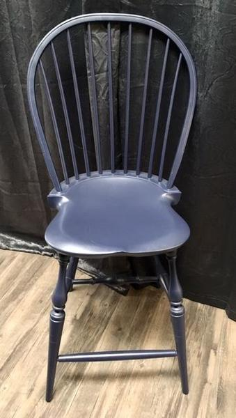 In Stock Set of Four Amish Windsor Bar Stool in Navy Paint