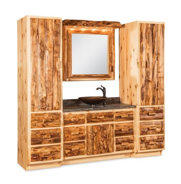 Amish Rustic Log Bathroom Vanity