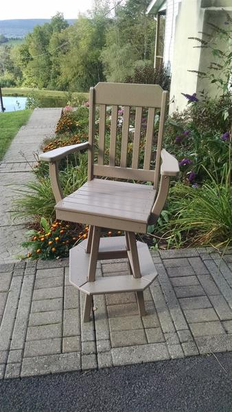 Amish Poly Traditional Swivel Bar Chair