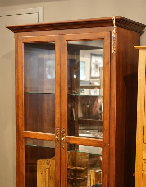 In Stock Cherry Wood Amish Large Two Door Curio Cabinet