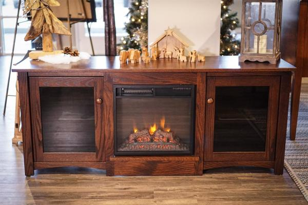 "In Stock 60"" TV Stand with Electric Fireplace Insert"