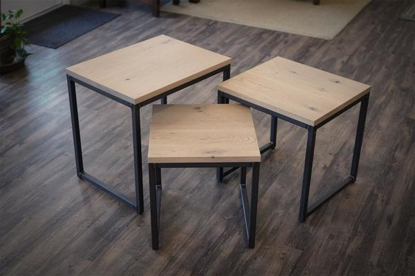 In Stock White Oak Amish Omni Nesting Table Set