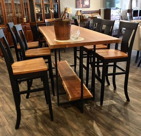 In Stock Amish Jamestown Pub Height Dining Set with Live Edge
