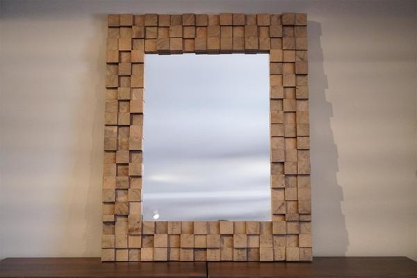 In Stock Amish Walnut Wood Block Art Mirror