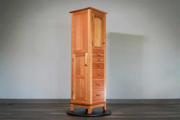In Stock Cherry Amish Revolving Jewelry Armoire