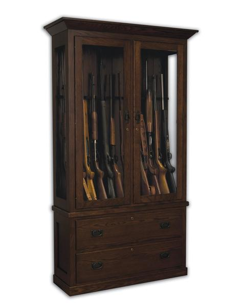 American Mission Solid Wood 12 Gun Cabinet with Drawers
