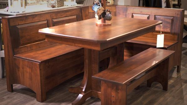 In Stock Trestle Table Corner Breakfast Nook Set