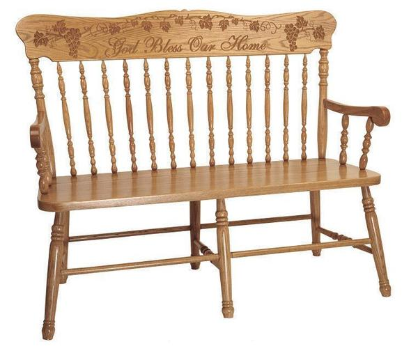 Amish Solid Wood Pressback Bench