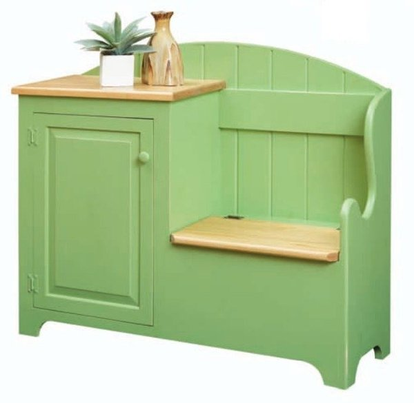 Cottage Storage Bench Cabinet