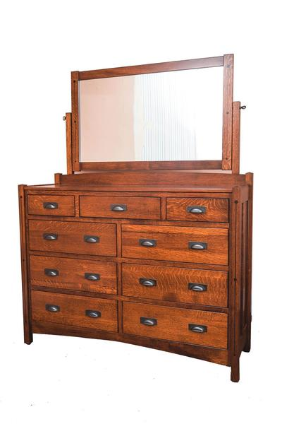 Amish Crafters Mission Nine Drawer Dresser with Optional Mirror