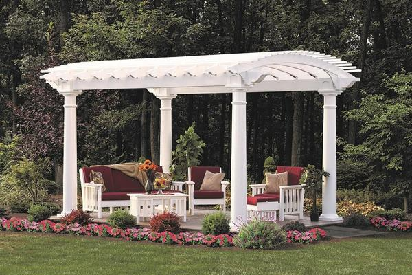 Arcadia Louvered Pergola with Arched Louvers, Amish Made. Shown with Amish Poly Furniture that is Not Included