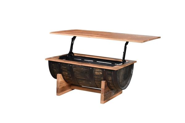 Reclaimed Whiskey Barrel Coffee Table with Lift Top