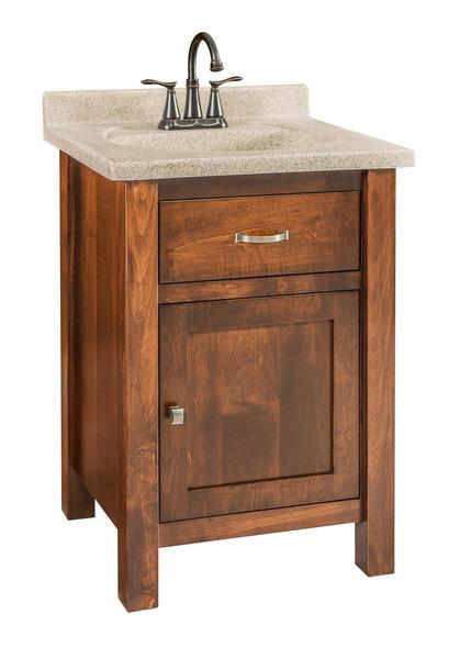 Quick Ship Garland   Small Brown Maple Free Standing Bathroom Vanity