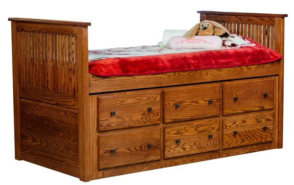 Amish Solid Wood Twin Storage Bed with Trundle Bed