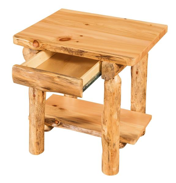 Rustic Log End Table with Hidden Drawer