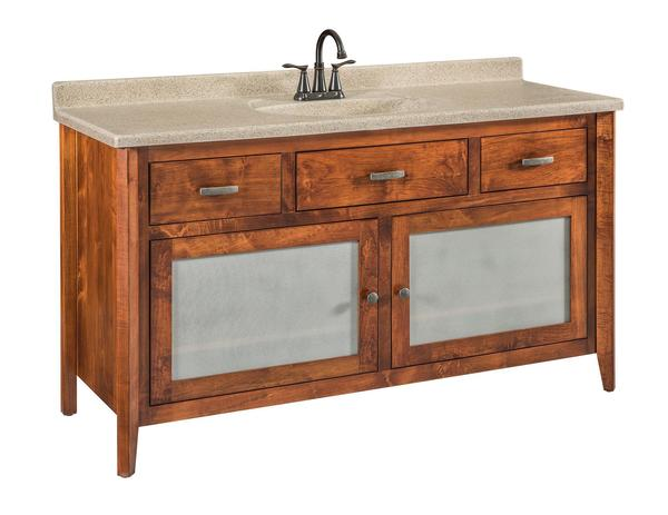 Quick Ship Garland - Large Brown Maple Free Standing Solid Wood Bathroom Vanity