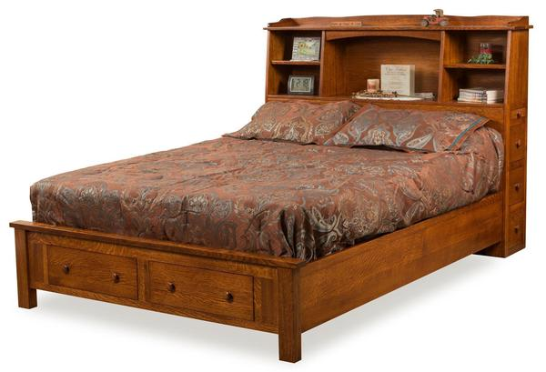 Amish Bookcase Bed with Storage Footboard