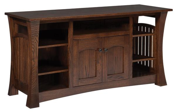 Amish Gateway TV Stand with 2 Drawers & Center Opening