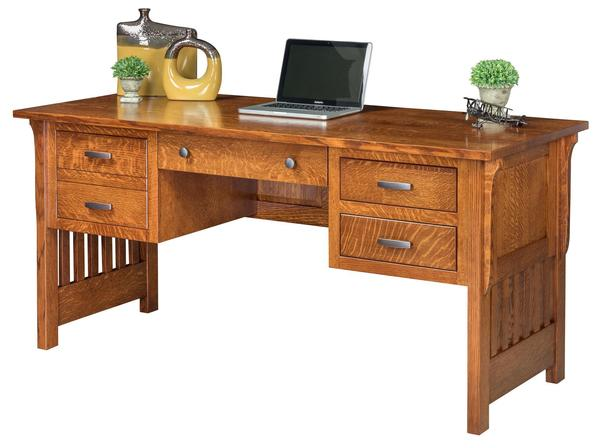 Amish Boston Mission Open Writing Desk with File Drawer