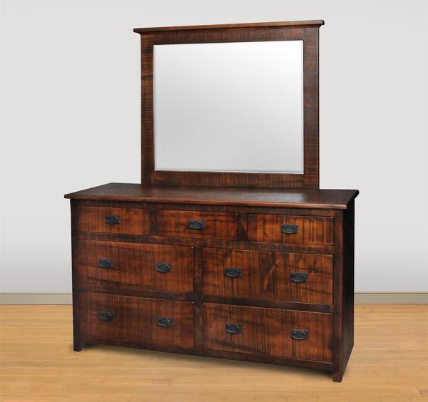 Ruff Sawn Cheyenne Rustic 7-Drawer Dresser with Optional Mirror