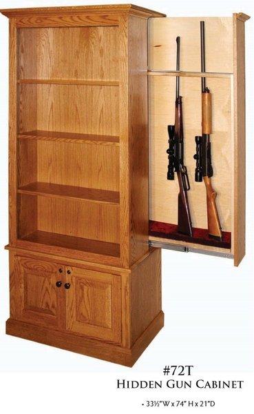Amish Winchester Bookcase With Hidden Gun Rack