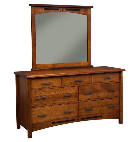 Amish Nolan 7-Drawer Dresser with Optional Mirror