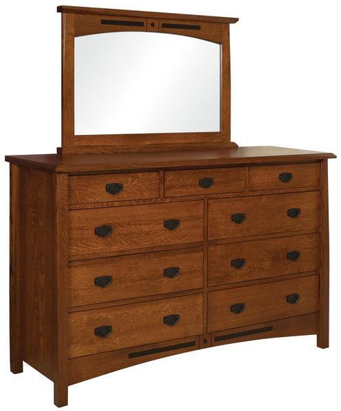 Amish Nolan 9-Drawer Dresser with Optional Mirror