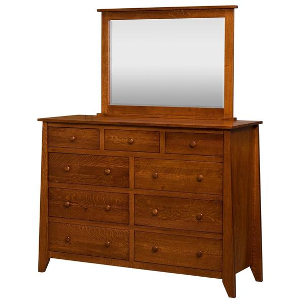 Amish Rushmore 9-Drawer Dresser with Optional Mirror