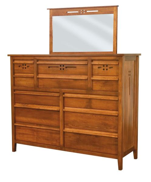 Amish Whitehaven 12-Drawer Dresser with Optional Mirror