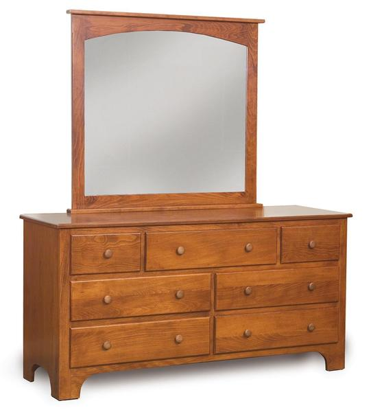 Amish Newcastle Shaker 7-Drawer Dresser with Optional Mirror