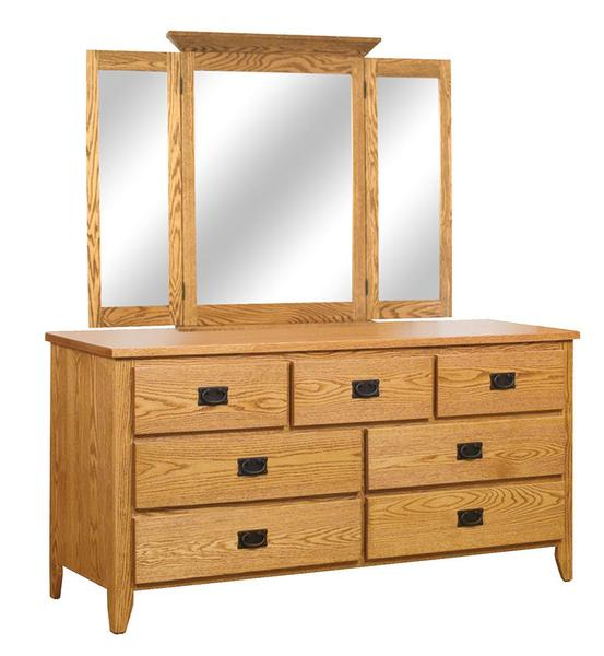 Amish Newcastle Mission 7-Drawer Dresser with Optional Mirror