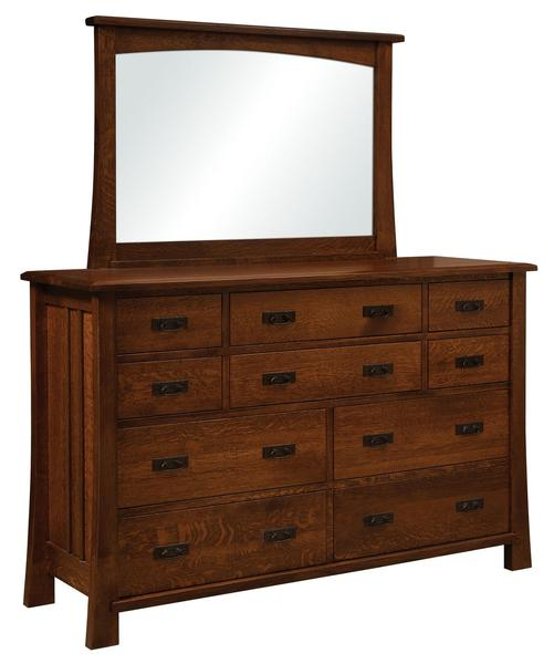 Amish Grant 10-Drawer Dresser with Optional Mirror