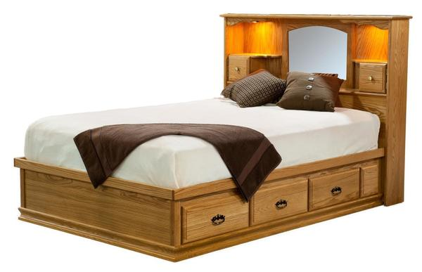 Amish Traditional Platform Storage Bed