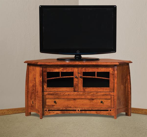 Amish Boulder Creek Corner TV Stand with Two Doors and Drawer