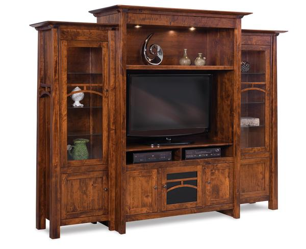 Amish Artesa Three Piece Entertainment Center Wall Unit with Bookcases