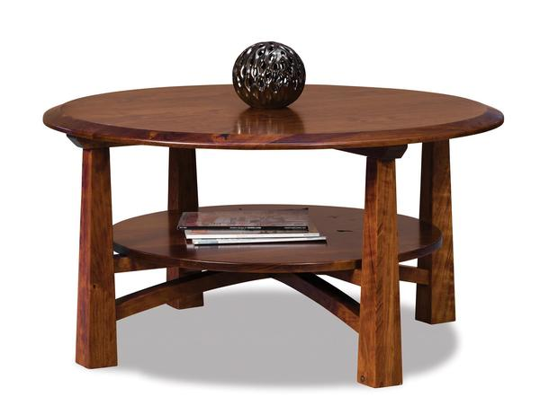 "Amish Artesa 38"" Round Solid Top Coffee Table with Shelf"