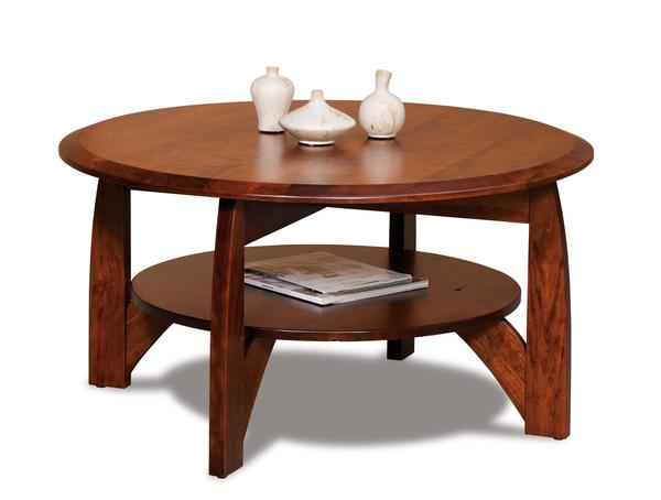 "Amish Boulder Creek 38"" Round Solid Top Coffee Table with Shelf"