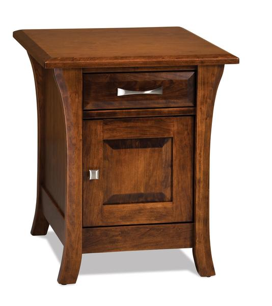 Amish Ensenada Enclosed End Table with One Drawer and One Door
