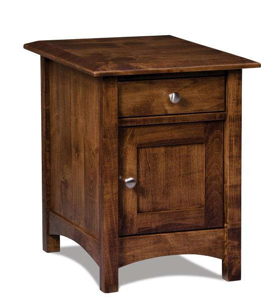 Amish Finland Enclosed End Table with One Drawer and One Door