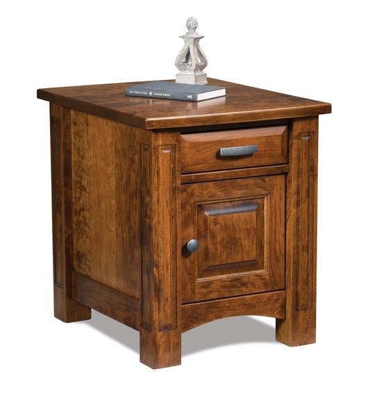 Amish Lexington Enclosed End Table with One Drawer and One Door