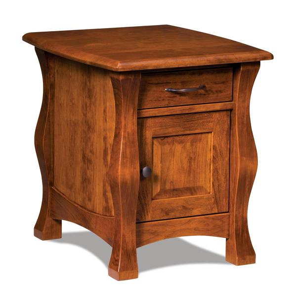 Amish Reno Enclosed End Table with One Drawer and One Door
