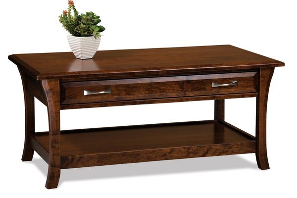Amish Ensenada Open Coffee Table with Drawer